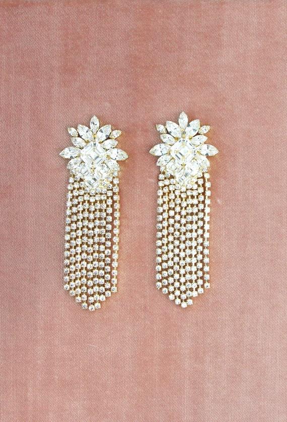 Bridal Statement Earrings, Bridal Crystal Swarovski Earrings, Clear Crystal Drop Earrings, Crystal Statement Long Earrings, Trendy Jewelry