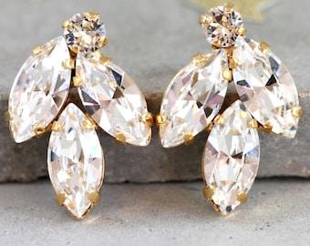 Clip On Earrings, Bridal Crystal Earrings, Swarovski Bridal Crystal Earrings, Bridal Cluster Clips Earrings, Bridesmaids Clip On Earrings,