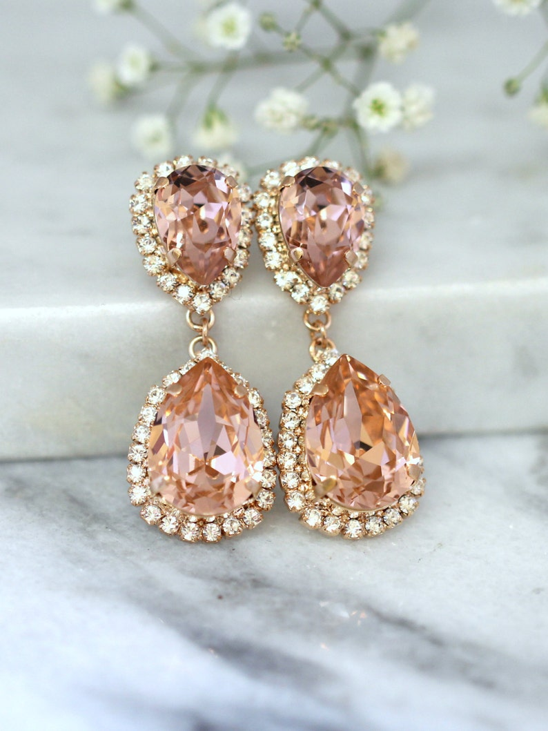 785c608d7 Rose Gold Blush Earrings Bridal Blush Earrings Bridal Drop | Etsy