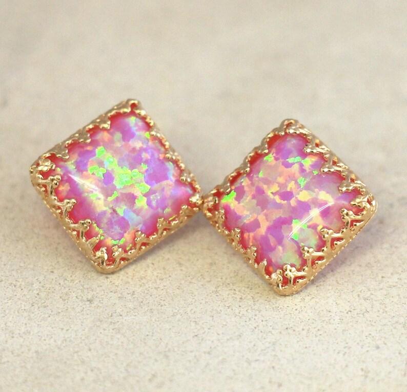 Opal Earrings,Pink Stud Earrings,Gold Pink Earrings,Gift for her,Pink Opal Stud Earrings,Gold Stud Earrings,Opal Jewelry,Square Earrings
