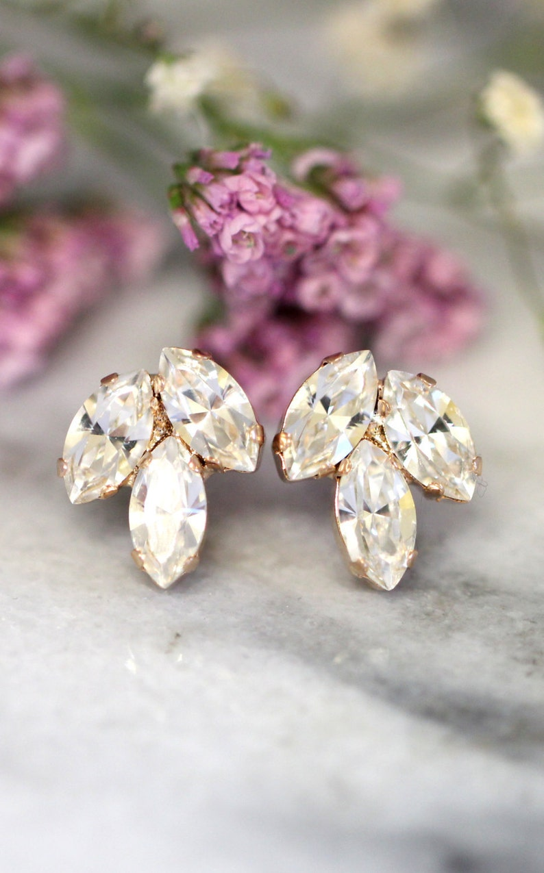 Bridal Crystal Earrings Bridal Dainty Crystal Earrings Rose gold shown