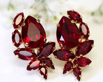 Ruby Earrings, Garnet Red Swarovski Cluster Earrings, Bridal Ruby Earrings, Bridesmaids Earrings, Pomegranate Crystal Earrings, Gift for her