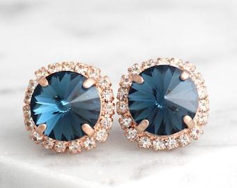 Blue Navy Earrings, Dark Blue Earrings, Blue Bridal Earrings, Swarovski Crystal Navy Blue Earrings, Bridesmaids Earrings, Gift For Her