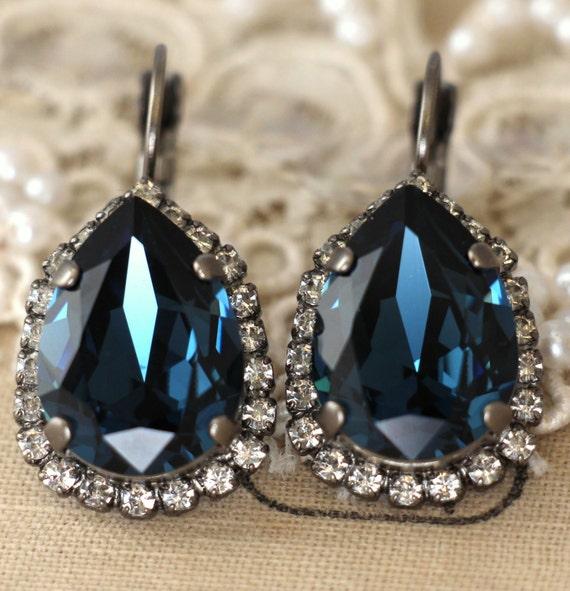 Blue Navy earrings Swarovski earrings Dark blue Swarovski   Etsy