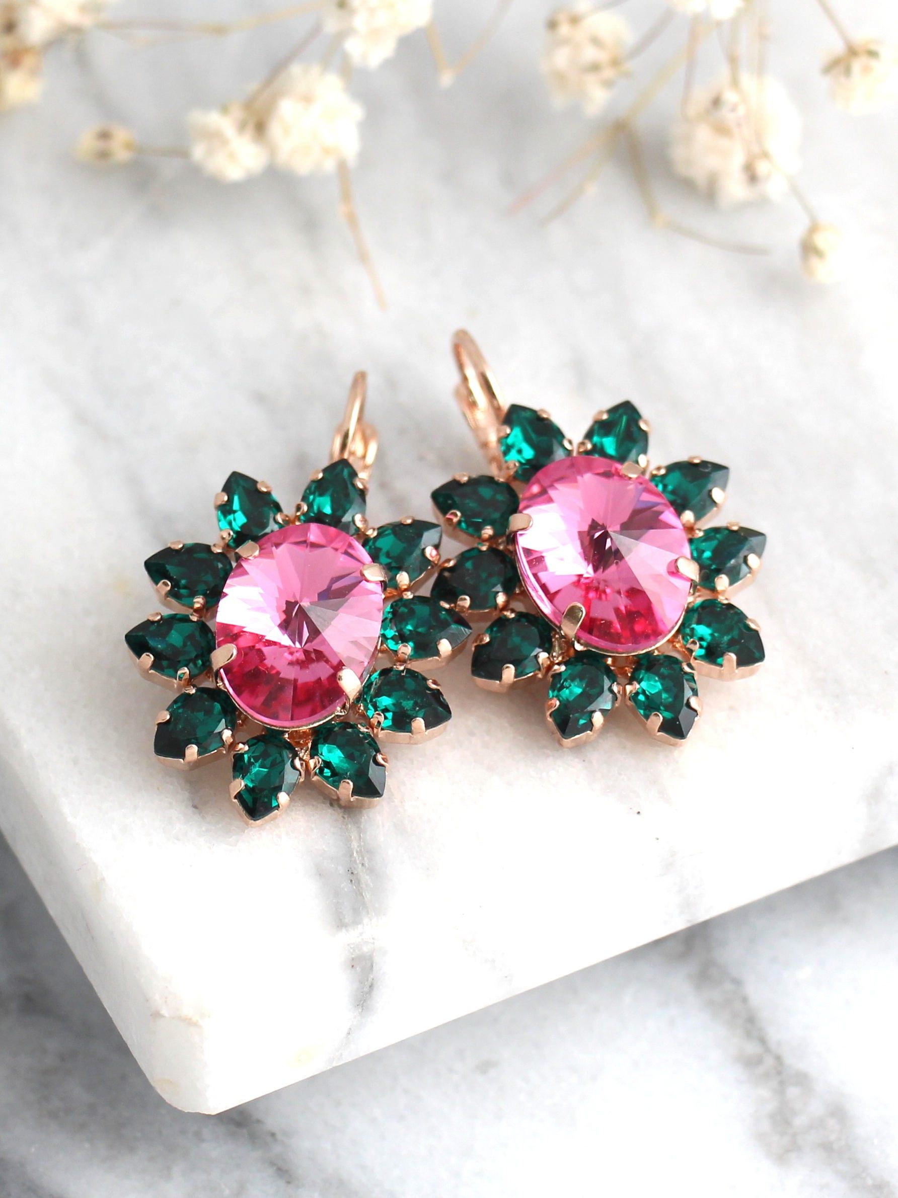 Green Pink Earrings Emerald Earrings Pink Green Drop