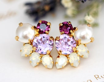 Purple Earrings, Bridal Purple Cluster Earrings, Lilac Bridal Earrings, Swarovski Earrings, Gift For Her, Bridesmaids Earrings. Purple Studs