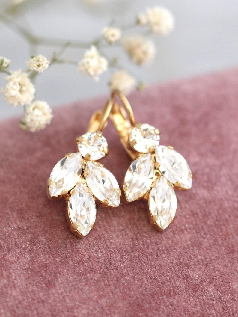 Bridal Crystal Drop Earrings Bridal Crystal Droplet Earrings image 1