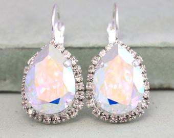 AB Crystal Earrings,Aurora Borealis Earrings,Ab Swarovski Earrings,Ab Rhinestone Earrings,Bridal AB Silver,Bridal Silver Crystal Earrings