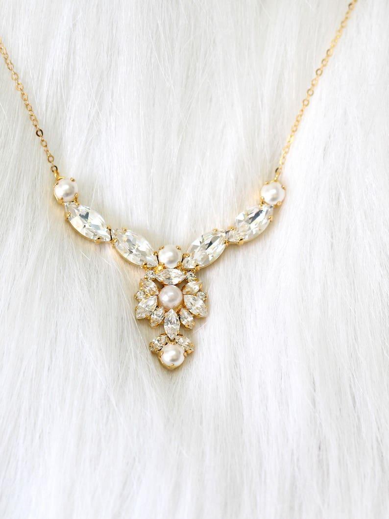 Bridal Necklace Bridal Pearl Necklace Bridal Crystal image 0
