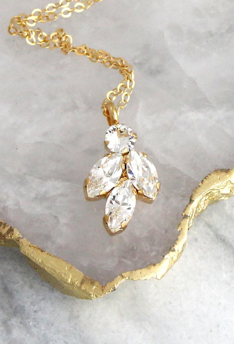 Bridal Necklace Bridesmaids Necklaces White Crystal Bridal image 1