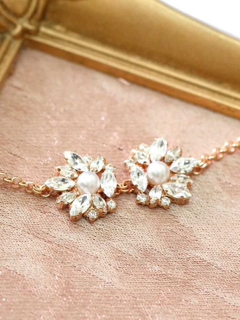 Bridal Bracelet Bridal Crystal Bracelet Rose Gold Bracelet image 0