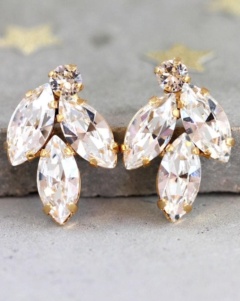 Bridal Crystal Earrings Bridal Jewelry Swarovski Crystal image 1