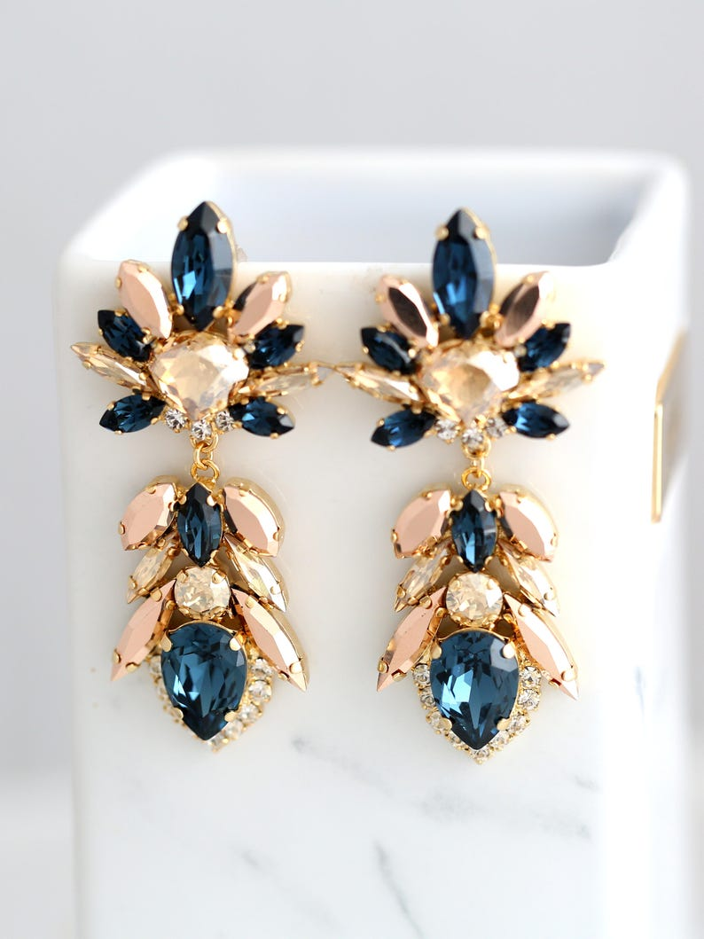 Blue Navy Earrings Dark Blue Chandeliers Champagne Blue Earrings Bridal Blue Navy Earrings Blue Long Earrings Blue Rose Gold Earrings