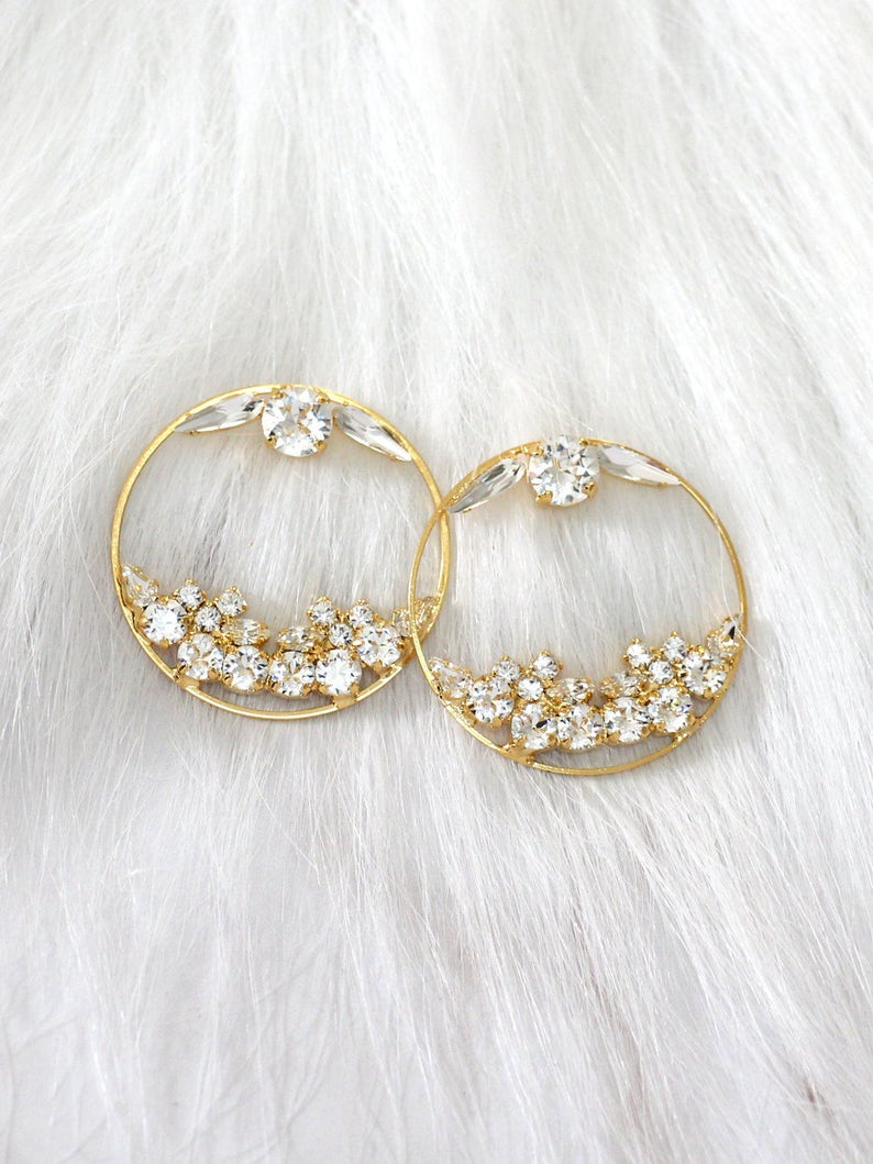 7b88027f1d0ca Hoop Earrings, Bridal Hoop Earrings, Swarovski White Crystal Bridal  Earrings, Swarovski Bridal Earrings, Statement Gold Earrings, Big Hoops