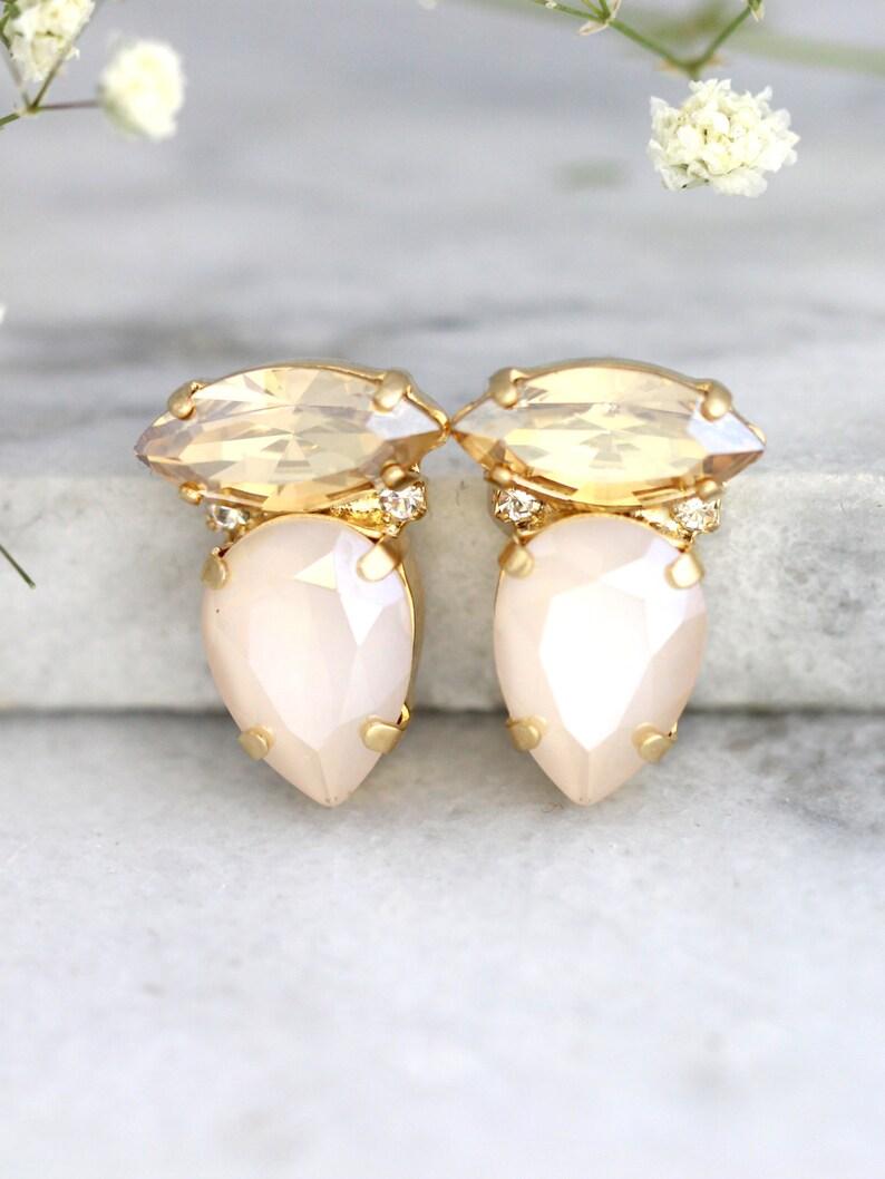 ea176446e Cream Ivory Earrings Bridal Ivory Earrings Swarovski Cream   Etsy