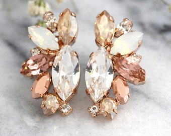 Rose Gold Champagne Cluster Earrings, Blush Bridal Earrings,Bridal Rose Gold Earrings, Bridesmaids Earrings, White Opal Champagne Studs