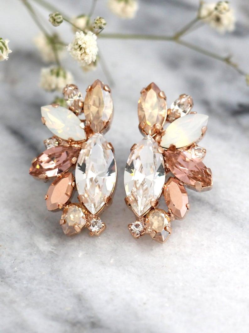 Rose Gold Champagne Cluster Earrings Blush Bridal image 0