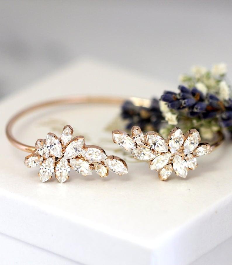 Bridal Bracelet White Crystal Wedding BraceletSwarovski Rose Gold