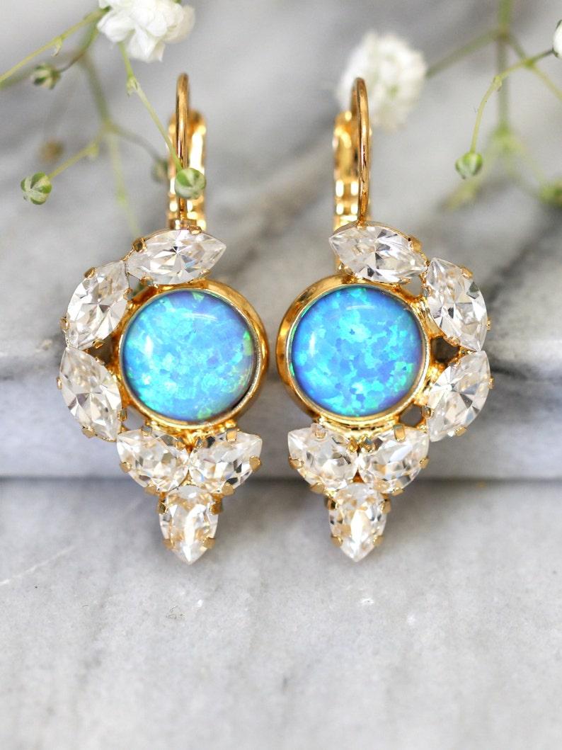 42540dfc273631 Opal Earrings Opal Drop Earrings Swarovski Drop Earrings   Etsy