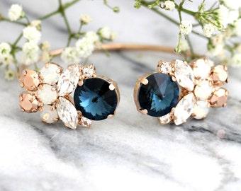 Blue Navy Bracelet, Blue Swarovski Bracelet, Bridal Bracelet, Bridal Blue Bracelet, Rose Gold Bracelet, Navy Blue Silver Bracelet