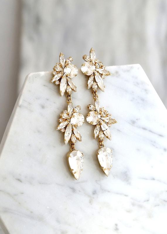 Bridal Long Earrings, Bridal Crystal Chandelier Earrings, Bridal Crystal Dangle Earrings, Clear Crystal Drop Earrings, Bridal Drop Earrings