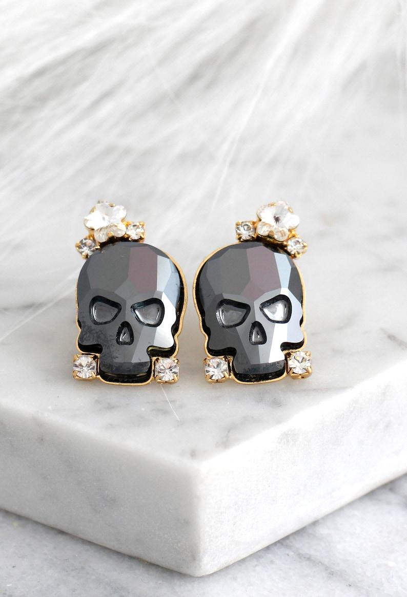 Skull Earrings Sugar Skull Earrings Black Skull Earrings image 0