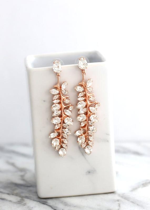BRIDAL Chandelier Long Earrings, Bridal Long Crystal Earrings, Bridal Leaf Earrings, Swarovski Chandelier Earrings, Crystal Dangle Earrings