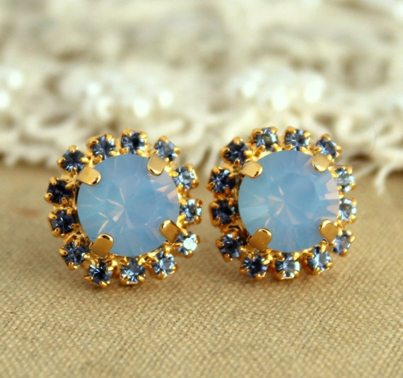 Items Similar To Opal Ring Exquisite Braided Opal: Items Similar To Blue Opal Earrings, Swarovski Stud