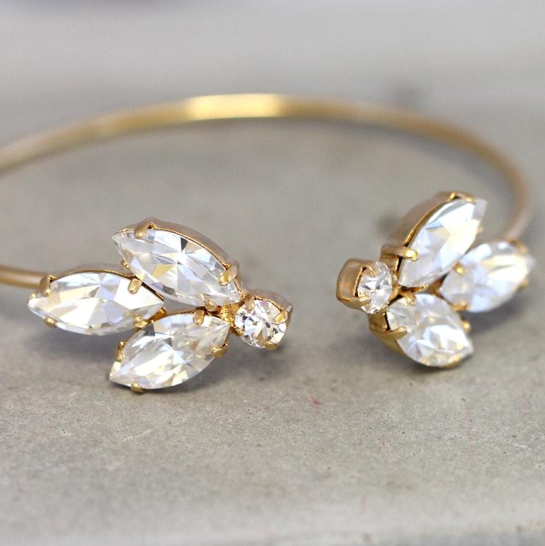 Bridal Wedding BraceletSwarovski Crystal BraceletBridal Gold Plated