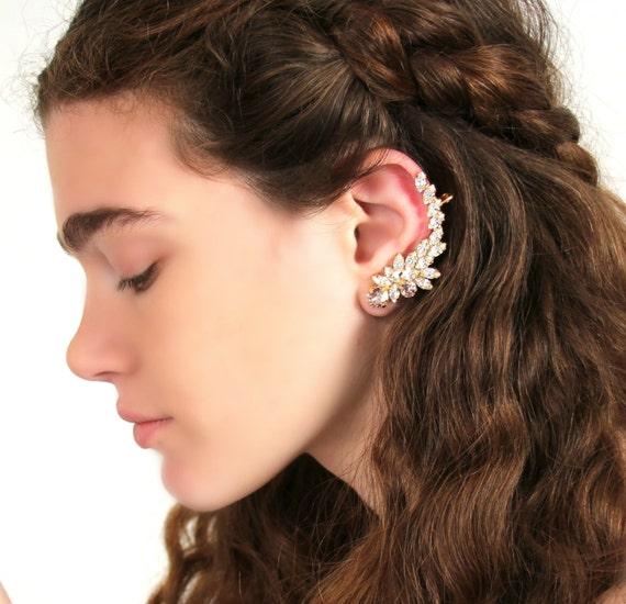 Boho Chic Earrings Bridal Climbing Earrings Ivory Cream Earrings Champagne Crystal Earrings Ear Crawler Earrings,Ear Cuff Earrings