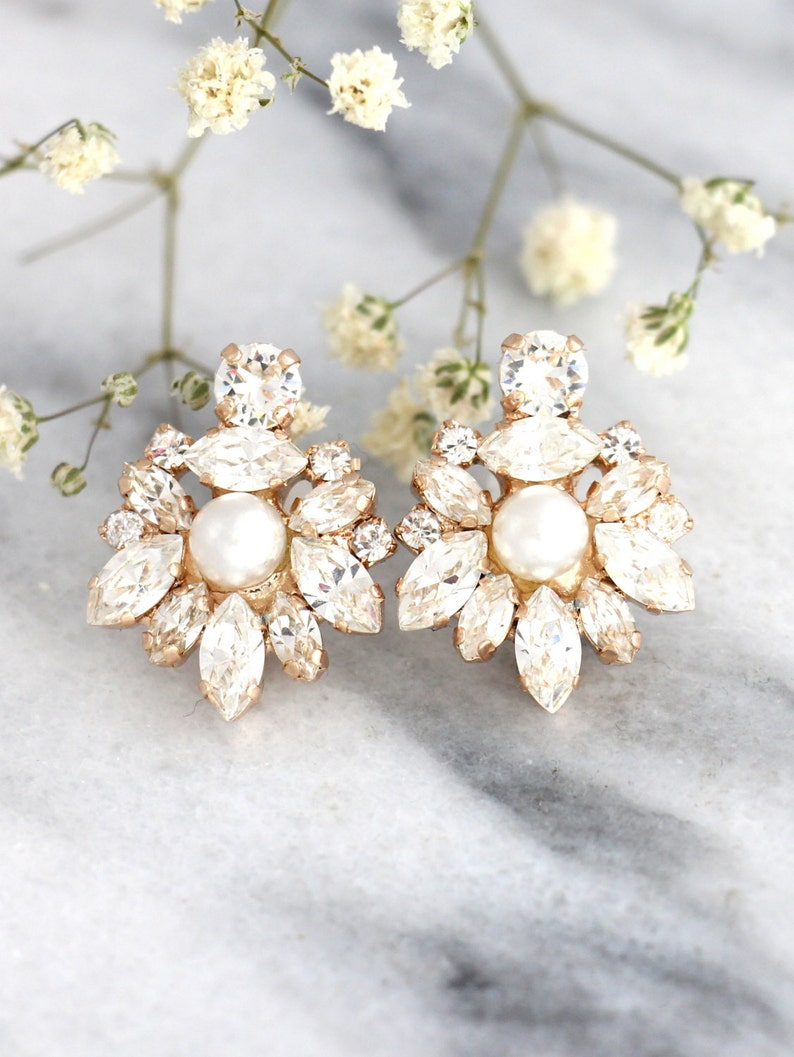 Bridal earrings Bridal Cluster earrings Bridal Pearl Rose Gold Finish