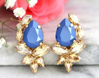 Blue Champagne Earrings, Royal Blue Earrings, Gift For her, Bridal Earrings, Swarovski Earrings, Navy Blue Earrings, Bridesmaids Earrings