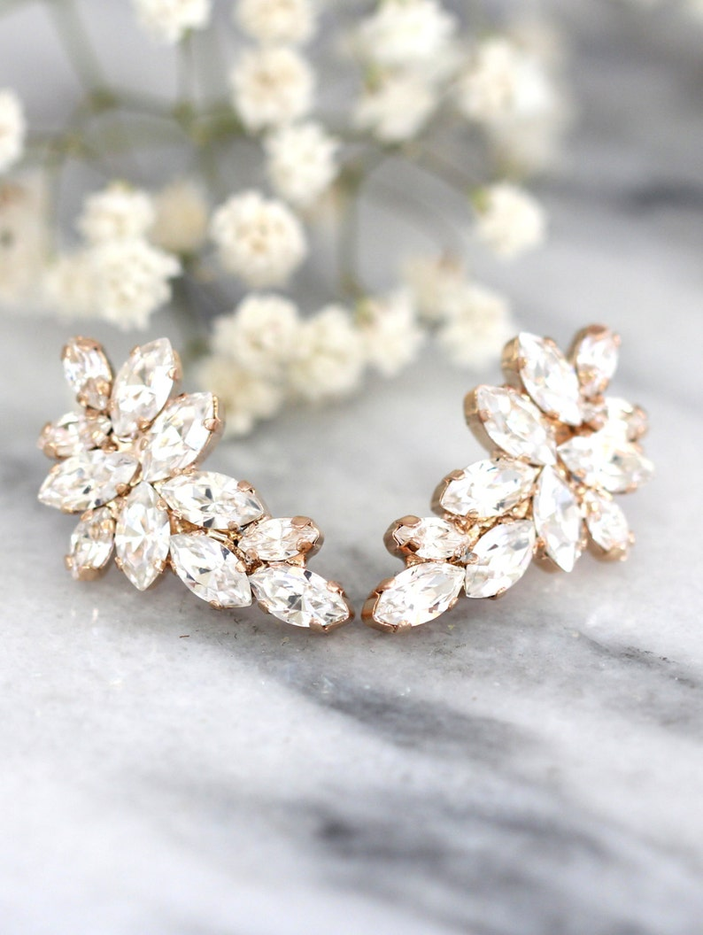 Bridal Rose Gold earrings Clear White Crystal Climbing image 1
