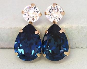 Blue Navy Earrings, Navy Blue Earrings, Dark Blue Swarovski Earrings, Bridal Navy Stud Earrings, Bridesmaids Earrings,Midnight Blue Earrings