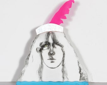 Pop Singer Sculpture by Larry Rivers Boho Chic Psychedelic Pop Plexi