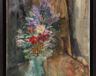 Flowers in Vase by V. Venetini, Oil Painting