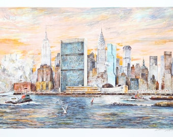 East River by Kamil Kubik, Lithograph, 1990