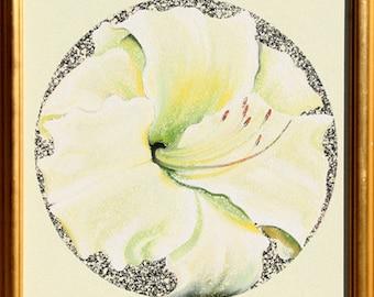 Lemon White Lily by Lowell Blair Nesbitt Oil Painting 1982