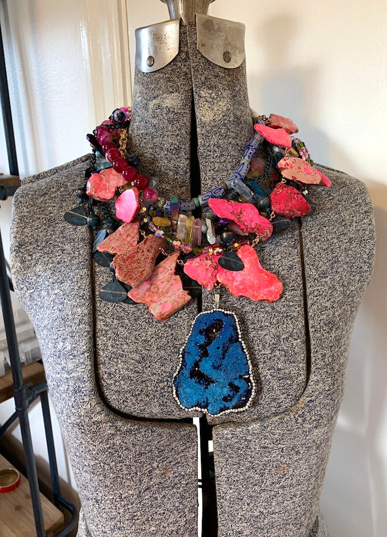 Statement Pink Necklace Chunky Druzy Necklace Colorful Multistrand Necklace African Necklace Statement Pendant Necklace Gypsy Hippie Jewelry
