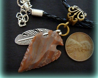 Modern Hand Knapped Item Flint Arrowhead Pendant with Brown Suede Necklace
