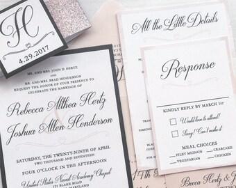 Blush Wedding Invitation Suite - Sample | Monogram Wedding Invitation | Blush and Navy Wedding Invitation