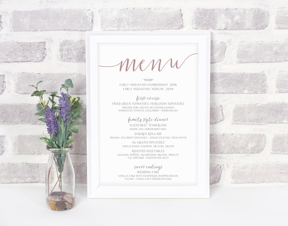 printable wedding menu print your own menu digital file etsy