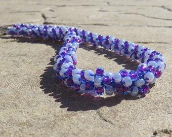 N-41 Bordeaux & Lilac Beaded Kumihimo Woven Necklace, Beaded Necklace, Seed Bead Necklace, Kumihimo Necklace