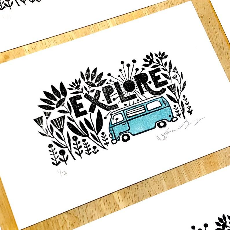 Explore Limited Edition Handprinted Wanderlust Art Print image 0
