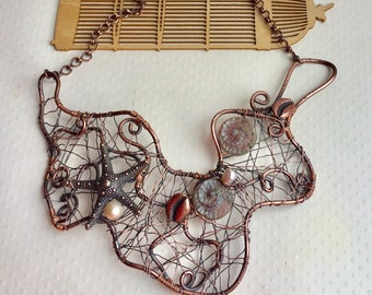 Mermaid's Cove oxidised copper freeform wire necklace with starfish, shells and pearls