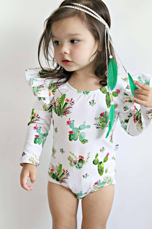 a3d981274 Baby Toddler Girls cactus long sleeve leotard Gymnastic Ballet