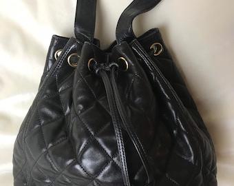 Authentic Vintage 1980 s Chanel Black Brown   Gold Lambskin Leather Bucket Shoulder  Bag 8e68d147d43c4