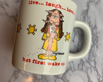 Vintage 1980's Cathy by Cathy Guisewite Live Laugh Love Funny Coffee Mug