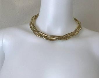 Vintage 1970's Gold Braided Slinky Choker Necklace
