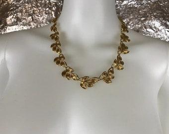 Vintage 1980's Gold Napier Leaf Design Necklace